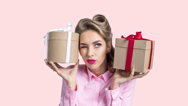 Retro woman with two gifts