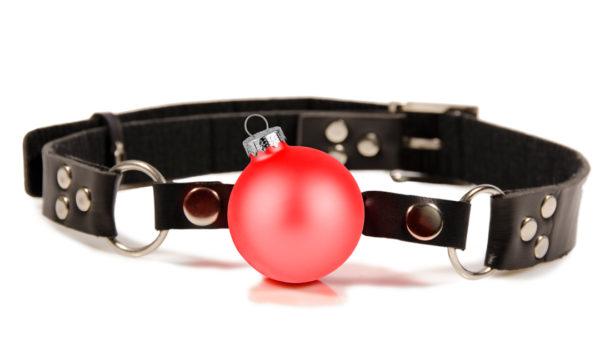 Ball gag with christmas ornament