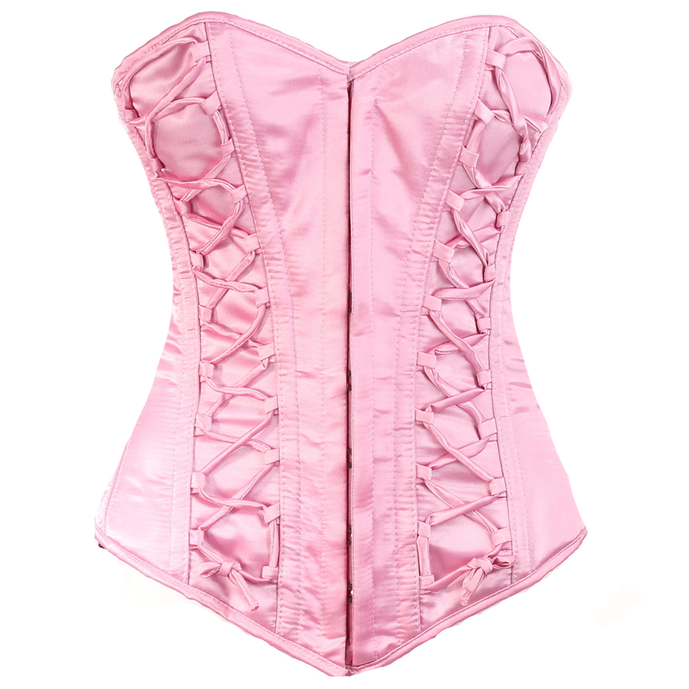 The Silk Road Overbust Corset in pink by Lotus Blooms and Bound Boutique